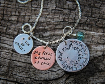 """CUSTOM MADE hand stamped Baha'i quote necklace: """"Possess a pure, kindly and radiant heart..."""" - from the Hidden Words"""