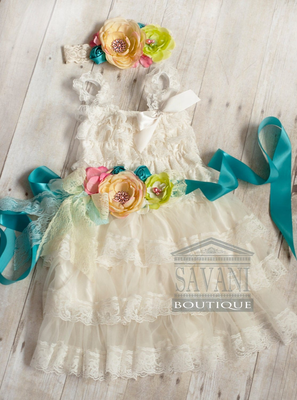 FLOWER Girl lace dress 3 pcs ivory lace dress setheadband