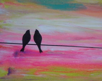 Anniversary, Wedding or Engagement Gift / Original Abstract Painting Modern Аcrylic  Сanvas LOVE BIRDS