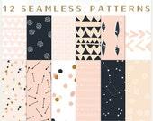 Arrows & Stars - JPG Files - Seamless Patterns - Digital Scrapbook - Paper Pack