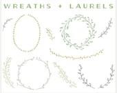 Wreaths & Laurels - PNG Files - Photoshop Brushes - Watercolor Clip Art - Digital Graphic Set - Photo Overlays