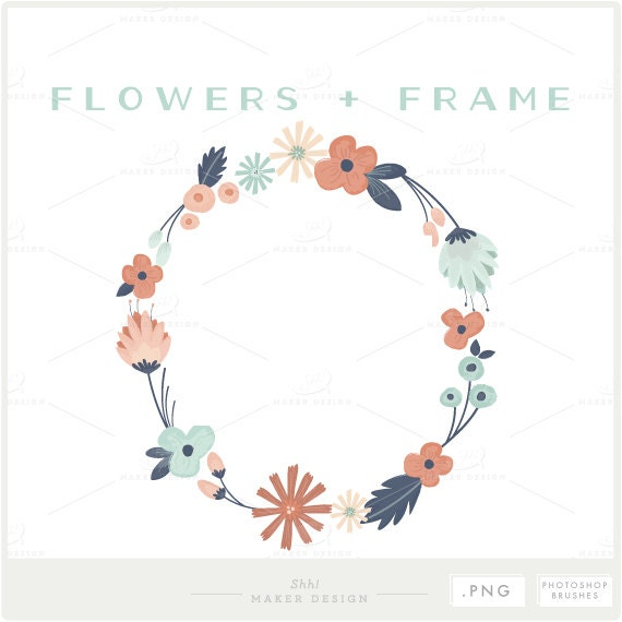 Floral Frame PNG Files Photoshop Brush Photo Overlay