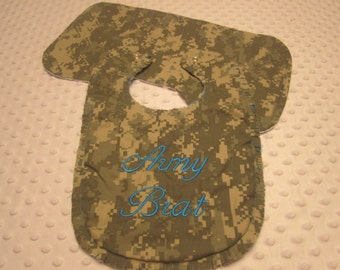 "Ready to Ship ~ Baby Bib and Burp Cloth Made with Army ""ACU"" Fabric ~ ""Army Brat"" ~ I Love Mommy/Daddy Flannel Backing"