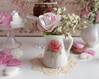 Shabby French  Rose Jug for Dollhouse