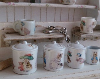 Beatrix Potter Characters Metal Kitchen Canisters for Dollhouse