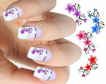 Nail Decals, Water Slide Nail Transfer Stickers, Flower Vine
