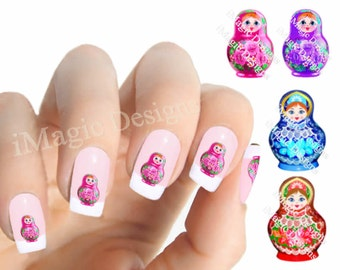 Nail Decals Stickers, Water Slide Nail Transfers, Matryoshka Russian Nesting Dolls