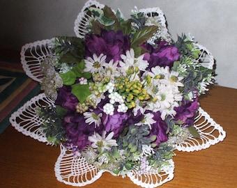 silk flower bouquet, hand-tied