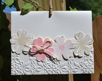 Handmade Greeting Card: hand made card, pink and beige flowers.