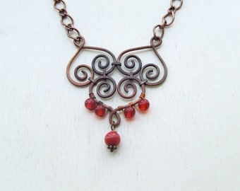 Copper Filigree Necklace with Glass Beads