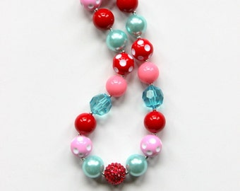 girls chunky necklace for girls aqua red pink christmas necklace bubblegum necklace white holiday girls chunky bead necklace