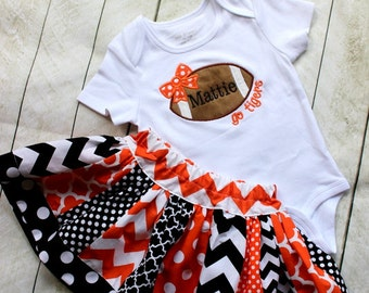 baby girl football outfit  Cincinnati Bengals Texas Longhorns football fall skirt set orange and black outfit girls football shirt with name