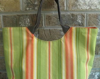 Green/Orange Striped Tote