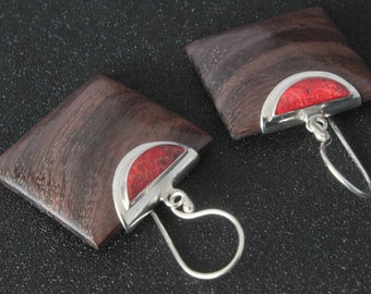 Wooden coral earrings with sterling silver 925. Sterling Silver wood coral earrings