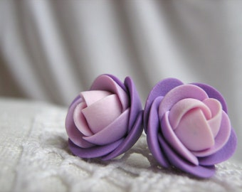 Polymer clay earrings - Lilac violet light pink rose flower stud earrings