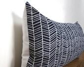 Navy Blue White Herringbone Modern Pillow Cover Lumbar