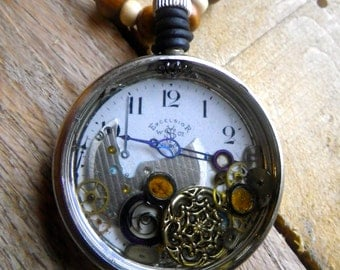 N67 Steampunk Antique Excelsior Watch Face Gears and Filigree Pendant -- FREE SHIPPING