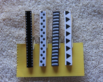 Decorative Black & White Clothespins with or without magnets