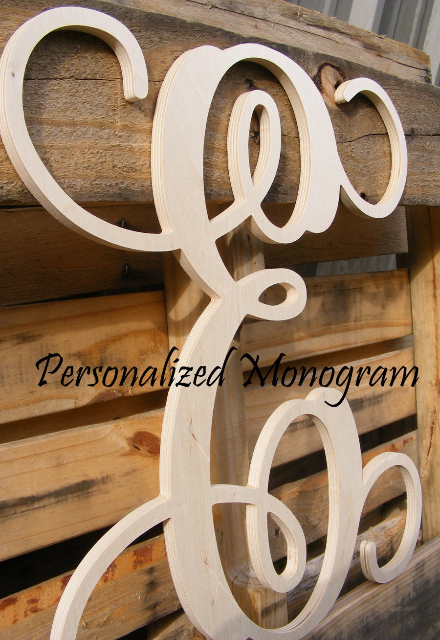 "20"" Wooden Monogram Single Letter Interlocking Script UNPAINTED"