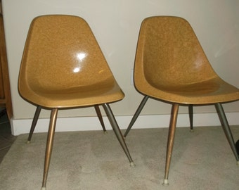 Set of Two Mid Century Modern Vintage Borg-Warner Fiberglass Shell Chairs Eames Era