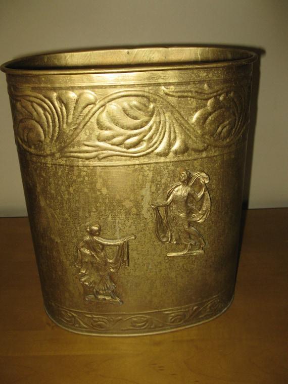 Sweet shabby chic metal waste basket trash can by oakiesclaptrap - Shabby chic wastebasket ...