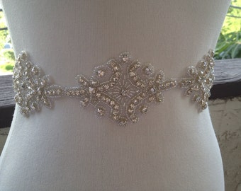 Bridal Sash ,Silver Wedding Belt Sash Best seller sash ,Rhinestone Crystal Sash,Beaded sash,Silver Sash Belt