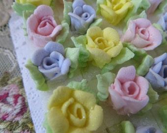 Royal Icing Pastel Rosette Sugar Cubes