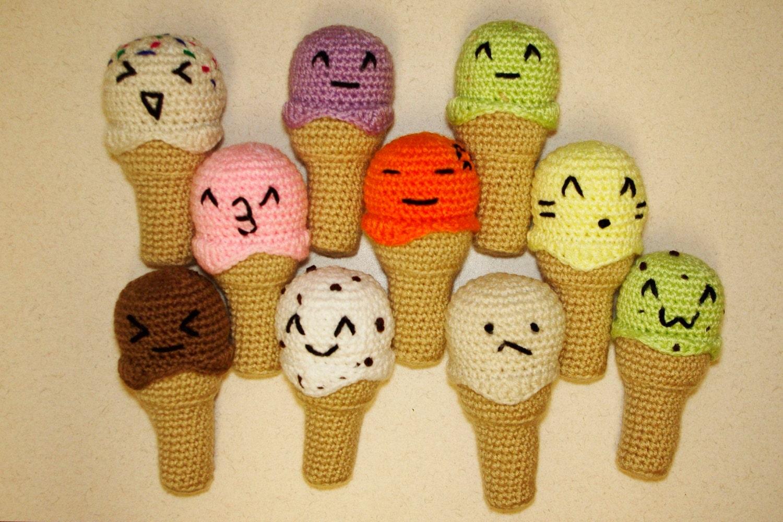 Amigurumi Ice Cream Tutorial : Emoji Amigurumi Ice Cream Cones