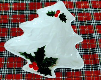Vintage Lefton Christmas Plate Dish with Holly and Berries, Holiday Decor, Serving, Mid Century, Cookie Plate