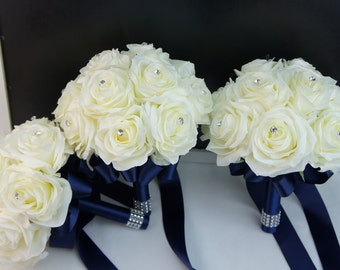 "set of 3: 8"" supreme quality ivory rose bouquet-Pick the ribbon color"