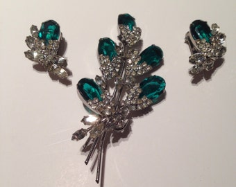 1940s glam inspired Hobe brooch and earring Demi parure