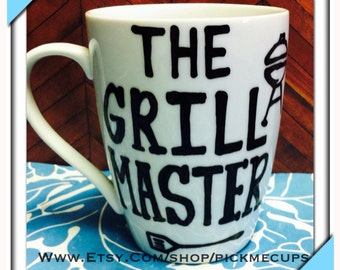 Grill master handpainted coffee mug grilling grill obsessed mug coffee gifts - fathers day- christmas