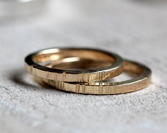 14k tree bark wedding ring set