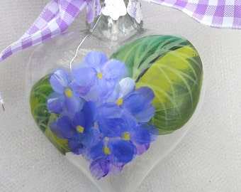 Hydrangea Heart Ornament  ~ Grandmother Gift ~ Handpainted Hydrangeas ~ Beach Decor~ Sweetheart Gift ~ Cottage Chic ~ Wedding Favors