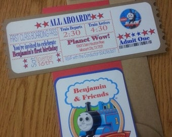 Inspired Thomas the Train Birthday Party  Invitations