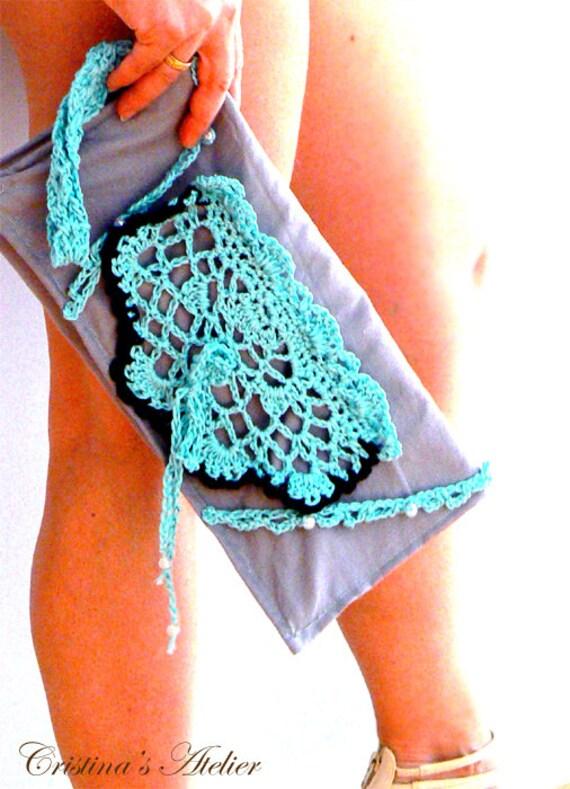 Grey blue crochet clutch. Elegant crochet applique cotton purse. Boho crochet purse with pearls. Handmade formal/casual purse.