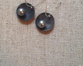 Antiqued Sterling silver pearl earrings