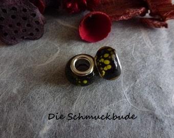 D-02309 - 2 European beads 13mm Lampwork handmade