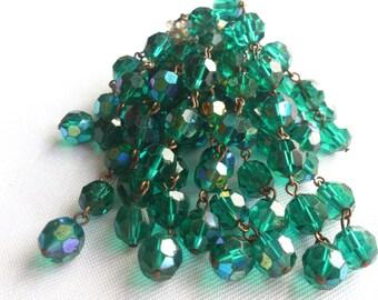 Vintage Green Glass bead waterfall style brooch