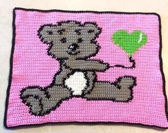 Crochet Graph Pattern Chart  Bear Holding Balloon Afghan Blanket SALE