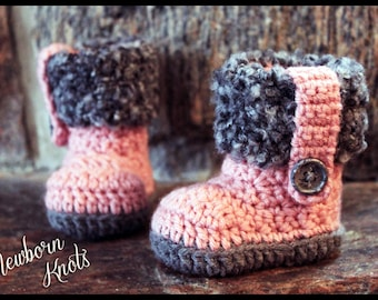 Crochet Pattern for Boys or Girls Fur Flap Baby Booties. Pattern number 042. Instant Download