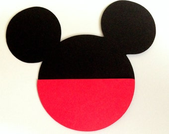 20 Mickey Heads 5 inch with red pocket cardstock die cuts