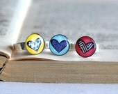 Candy Colorful Resin Ring Stacking Fun Ring Colorful Heart Pattern Adjustable Ring