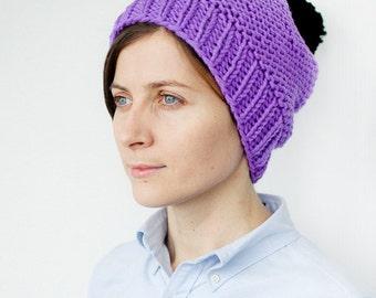 Women's Knit Hat / Wool Hand Knit Hat / Purple Hat / OOAK hat