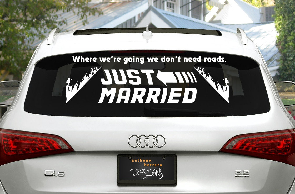 back to the future just married wedding vinyl decal. Black Bedroom Furniture Sets. Home Design Ideas