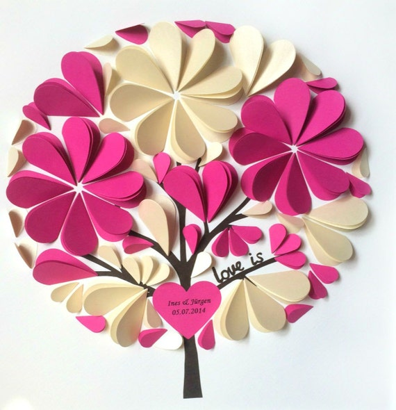 3D Guest Book Ideas - Unique Wedding Guest Book -Personalized Guestbook - Small Size for up to 50 Guests - Hot Pink and Ivory