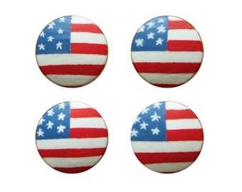 American Flag Knob, US Flag Drawer Knob, Hand painted American Flag Decor
