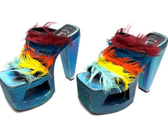 SPRING CLEANING SALE // Eu 36 // 90's Rainbow Feather Holographic Mega Platform Heels