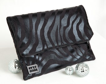 Handmade Black Zebra print Fold-over Clutch, with Green lining. Soft, sassy and HOT!