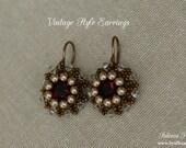 Earrings Tutorial - 8mm Beaded Bezel Swarovski Chatons - Vintage Style Earrings - PDF Pattern - Digital Download